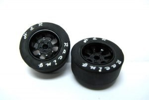 H&R HR1109 Nascar Front Black Narrow Wheels with Rubber Tires